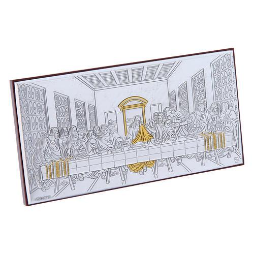 Quadro bilaminato retro legno pregiato Ultima Cena 7,5X15 cm 2
