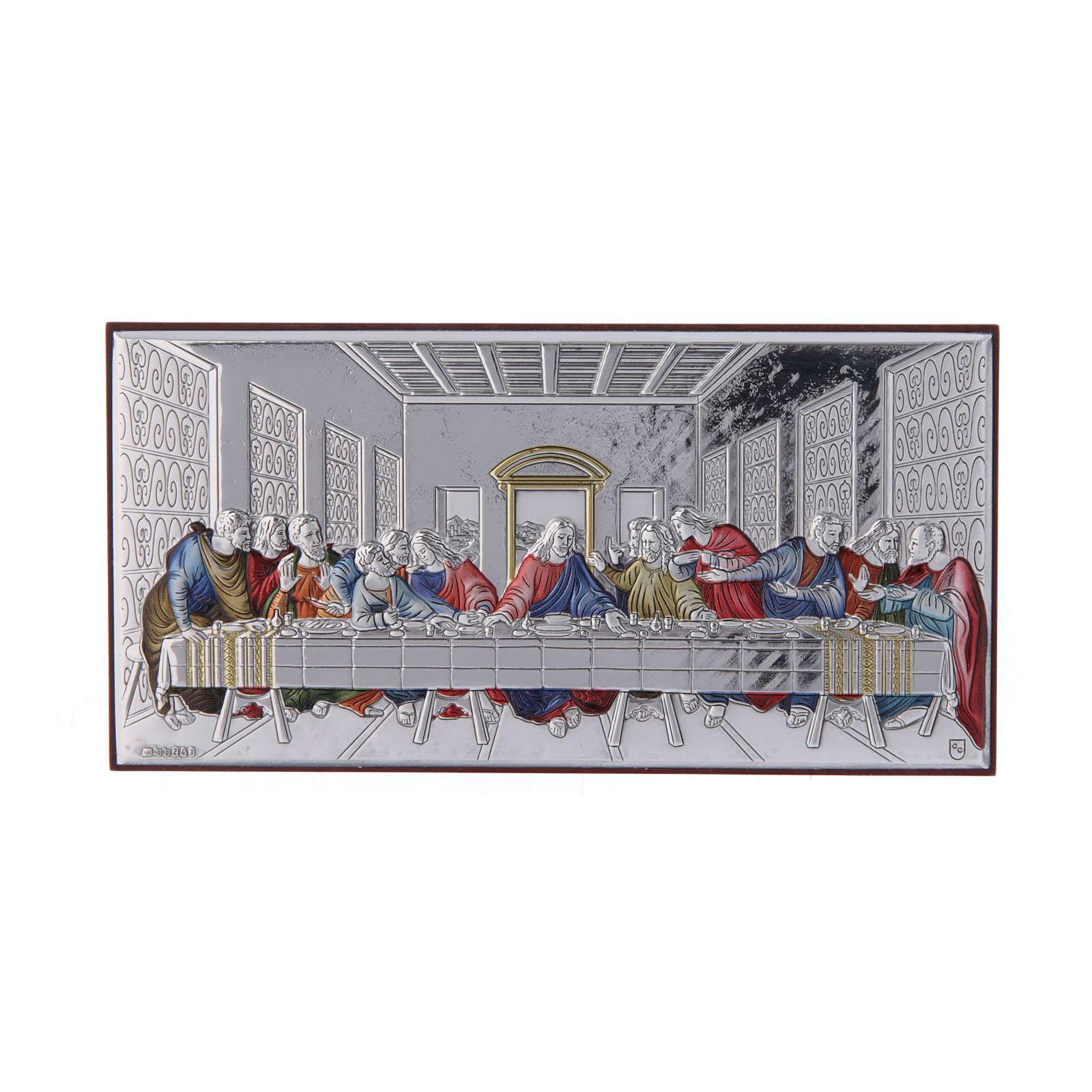 Quadro Ultima Cena colorato bilaminato retro legno pregiato 7,5X15 cm 4