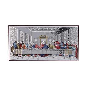 Quadro Ultima Cena colorato bilaminato retro legno pregiato 7,5X15 cm s1