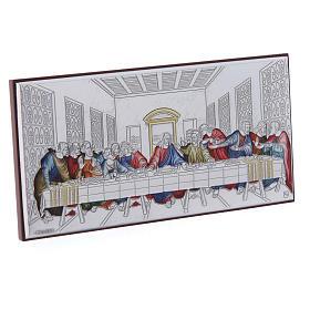 Quadro Ultima Cena colorato bilaminato retro legno pregiato 7,5X15 cm s2