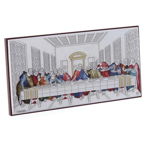 Quadro Ultima Cena colorato bilaminato retro legno pregiato 7,5X15 cm 2