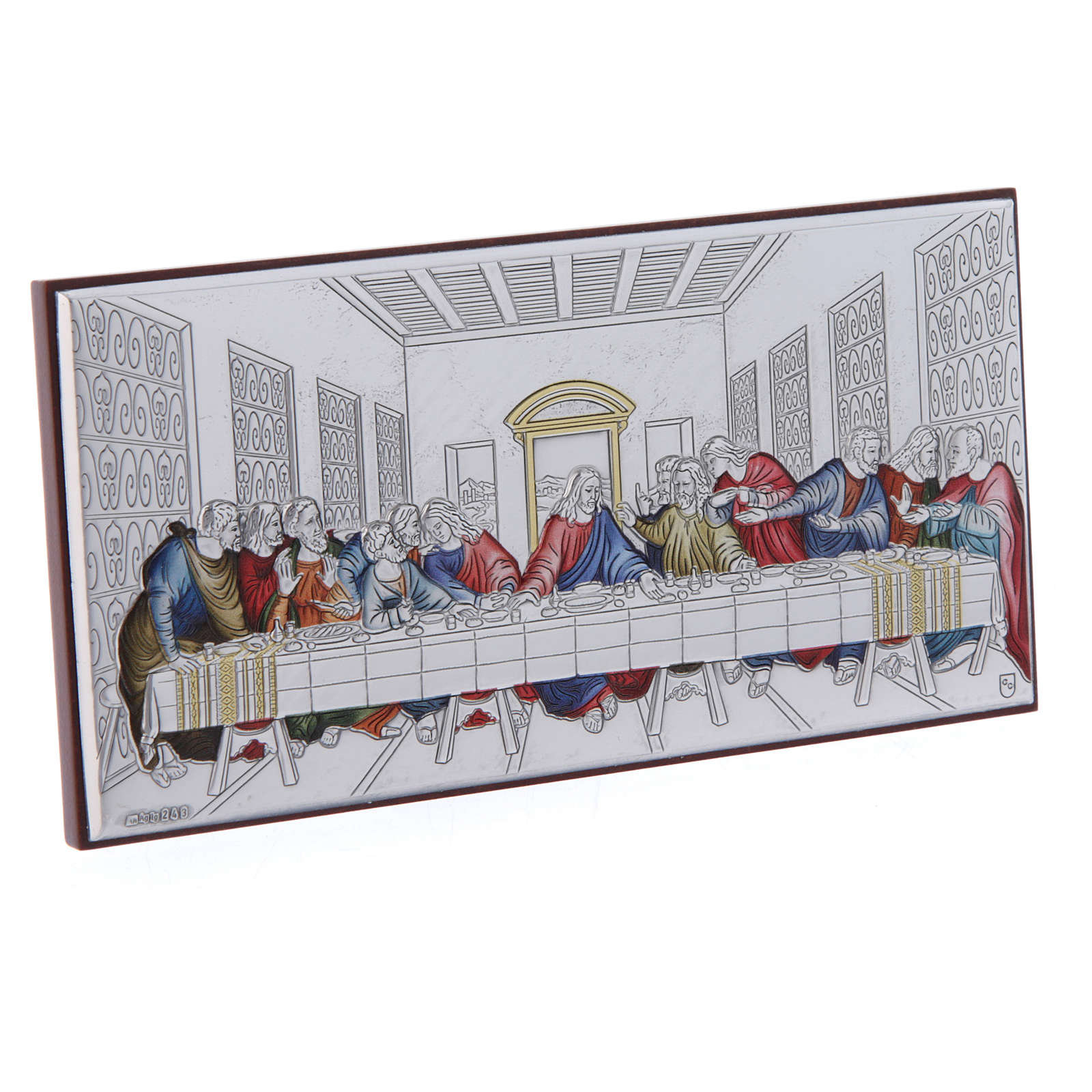 The Last Supper painting in coloured laminboard with refined wooden back 7,5X15 cm 4