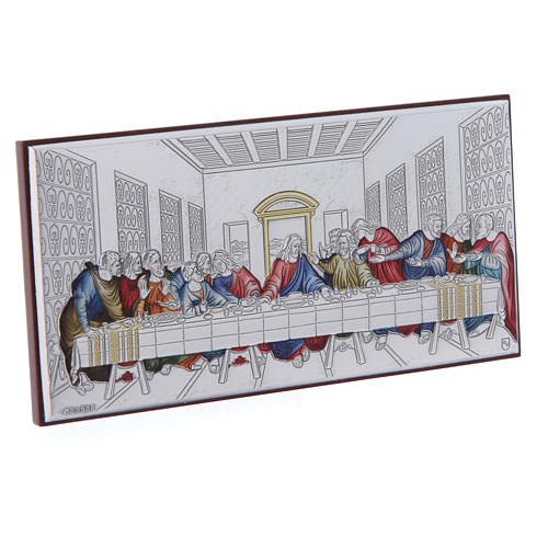 The Last Supper painting in coloured laminboard with refined wooden back 7,5X15 cm 2