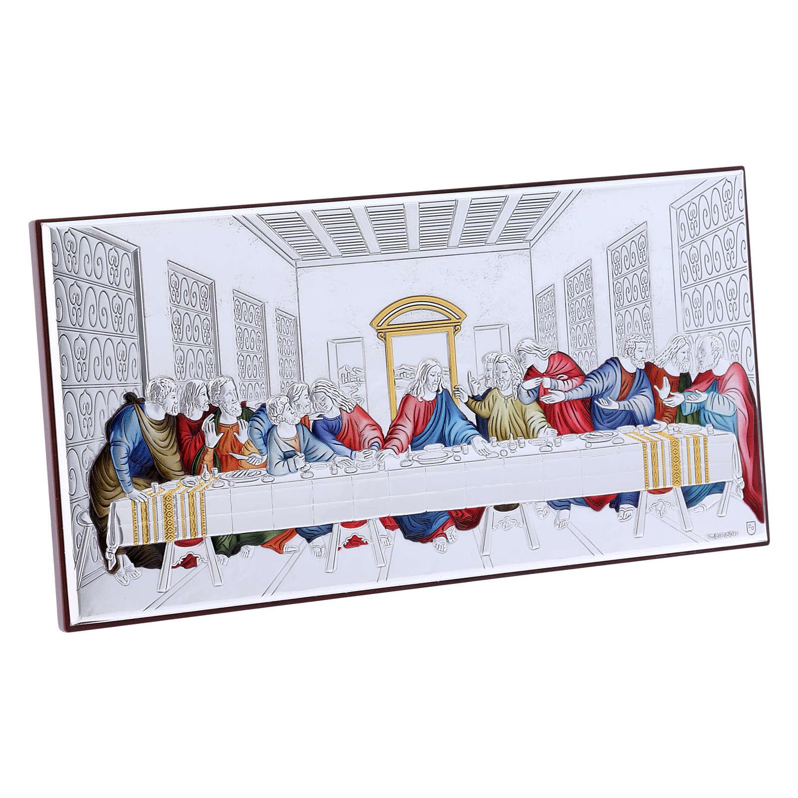 Quadro Ultima Cena colorato bilaminato retro legno pregiato 11,2X22,4 cm 4