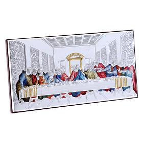 Quadro Ultima Cena colorato bilaminato retro legno pregiato 11,2X22,4 cm s2
