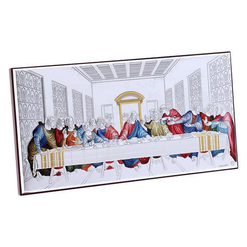 Quadro Ultima Cena colorato bilaminato retro legno pregiato 11,2X22,4 cm 2