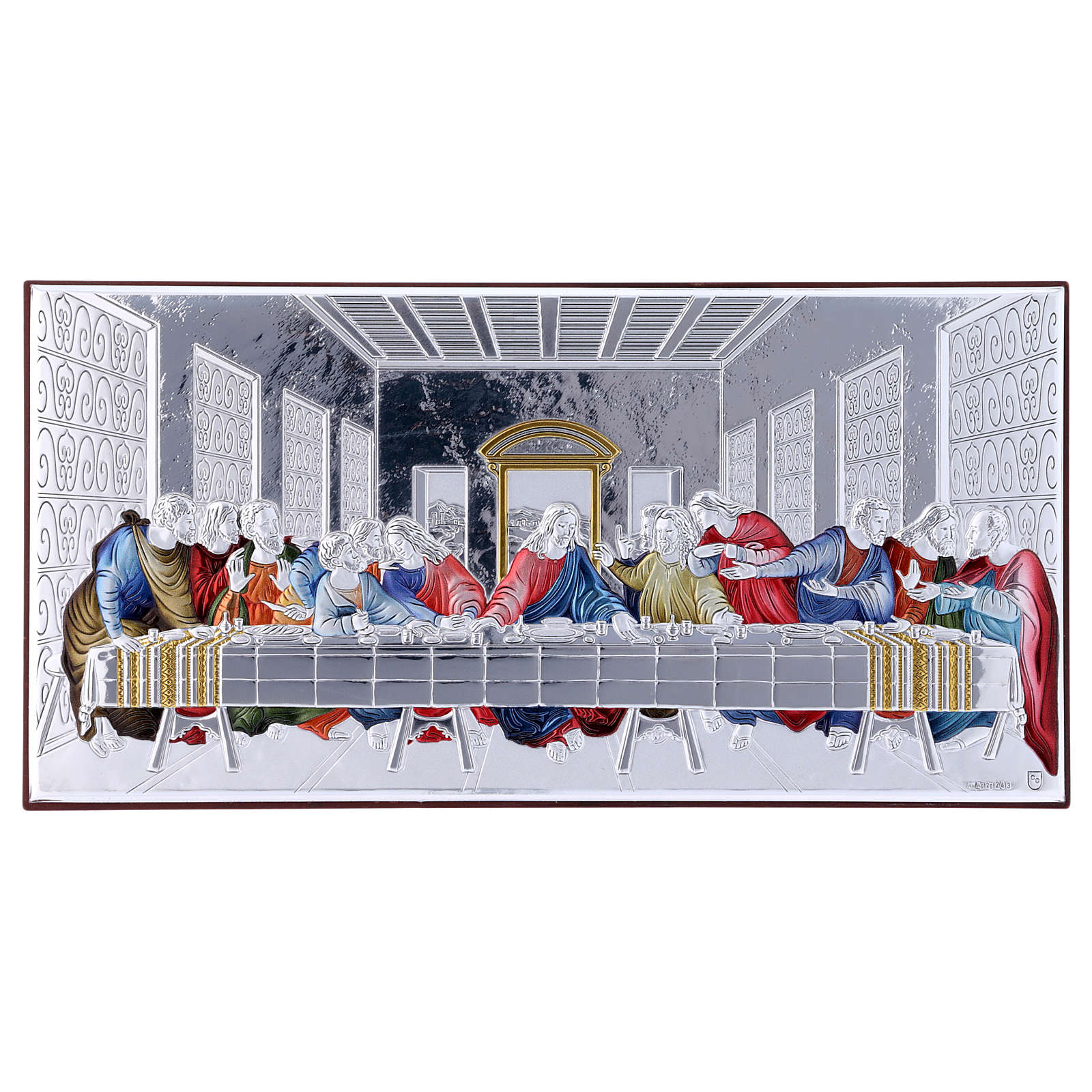 The Last Supper painting in colored laminboard with refined wooden back 11,2X22,4 cm 4