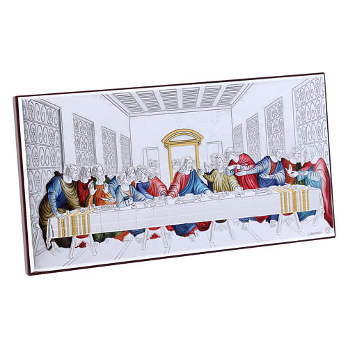 The Last Supper painting in colored laminboard with refined wooden back 11,2X22,4 cm 2