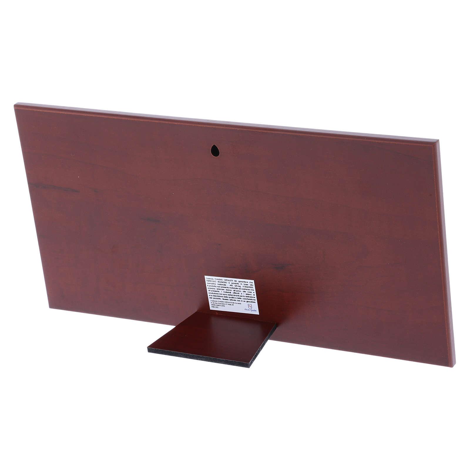 Cuadro bilaminado parte posterior madera preciosa Última Cena 16,8x33,6 cm 4