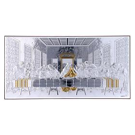 Quadro bilaminato retro legno pregiato Ultima Cena 16,8X33,6 cm s1