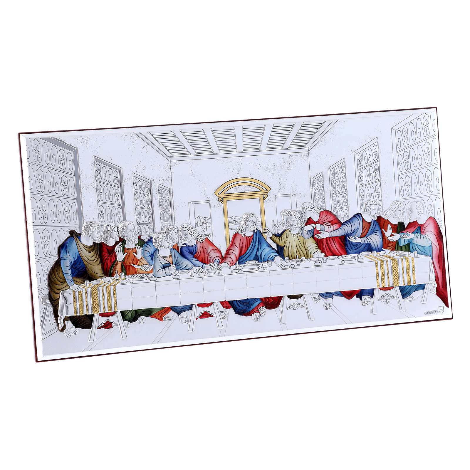 The Last Supper painting in coloured laminboard with refined wooden back 16,8X33,6 cm 4