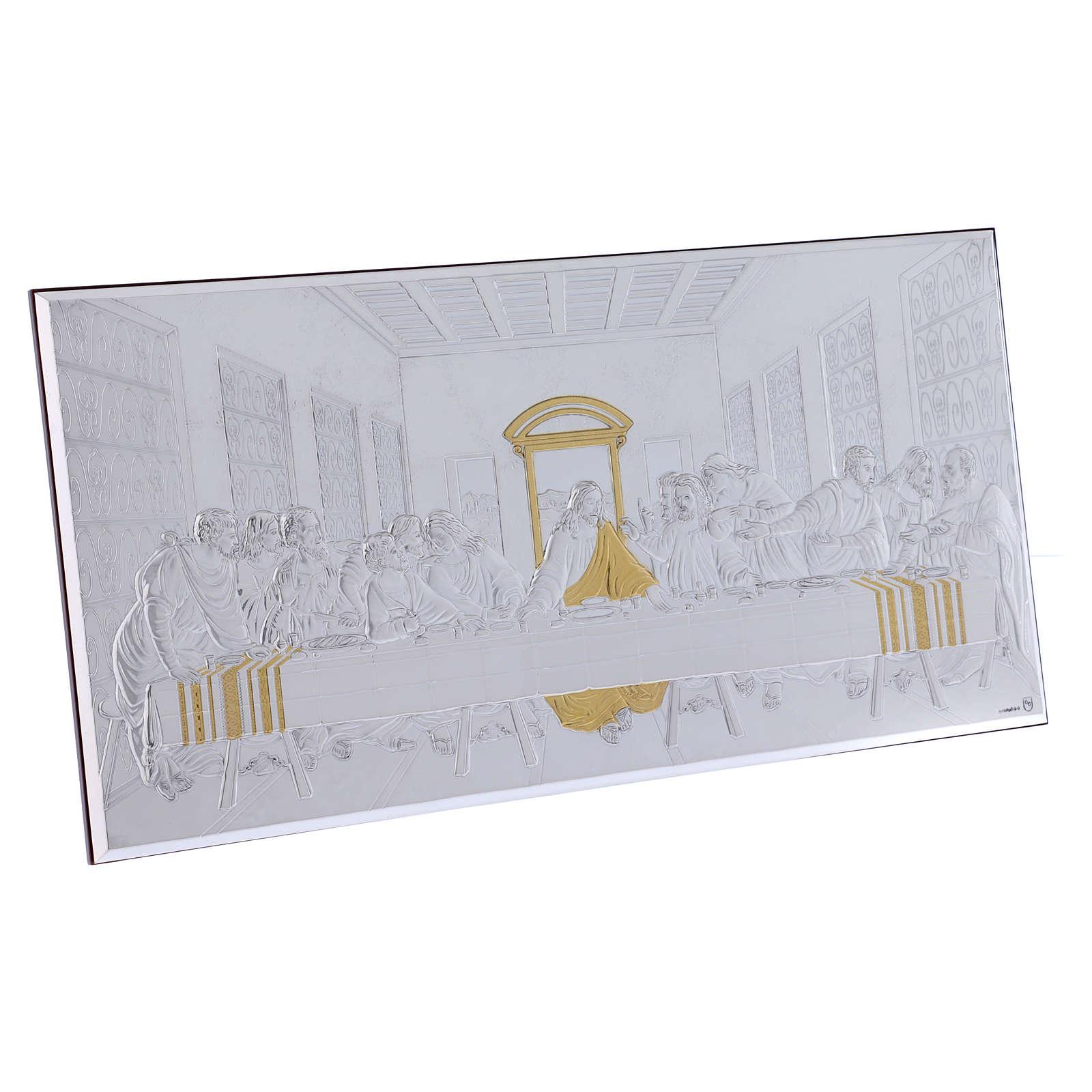 Quadro bilaminato retro legno pregiato Ultima Cena 23X46 cm 4