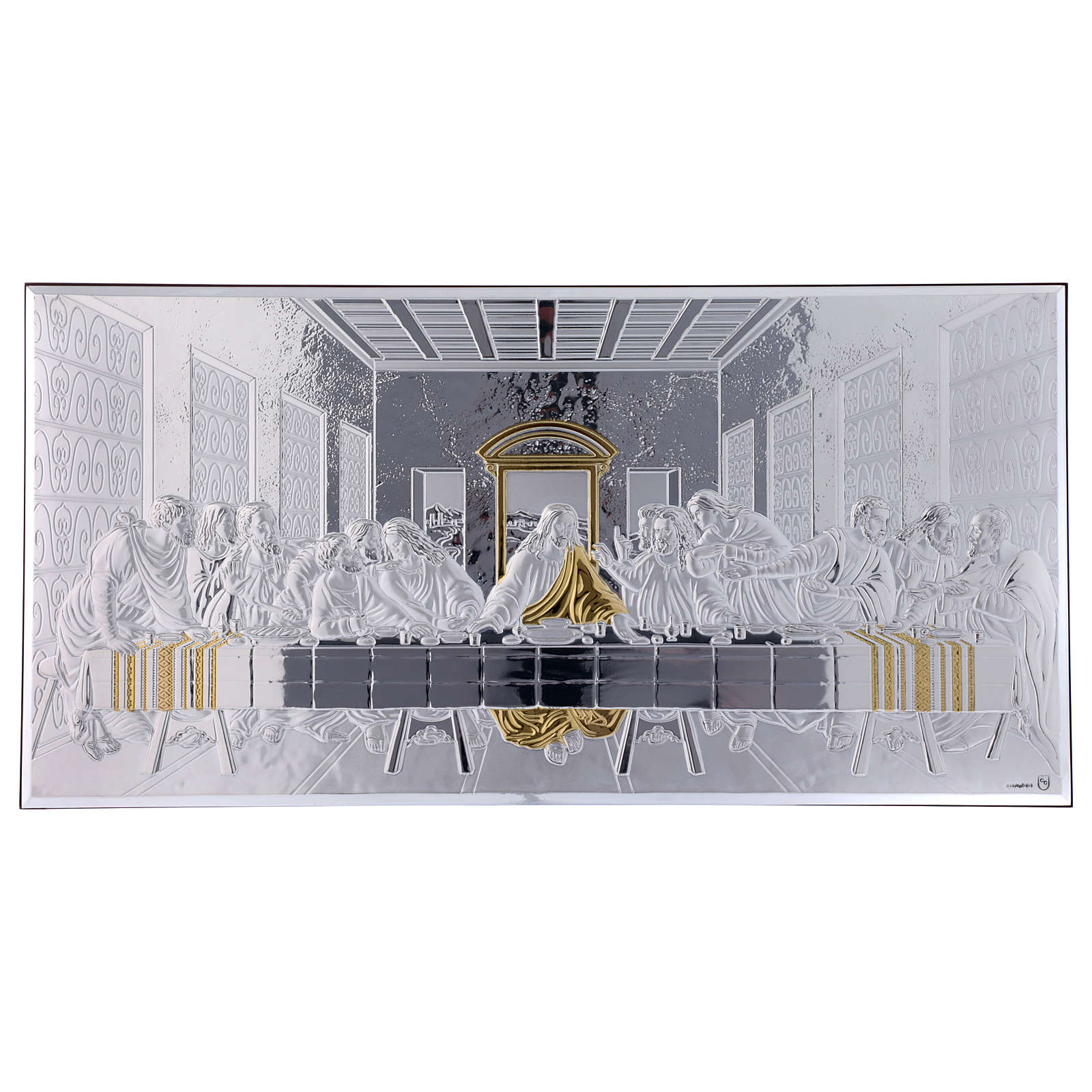 The Last Supper painting in laminboard with refined wooden back 23X46 cm 4
