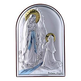 Quadro Madonna di Lourdes bilaminato retro legno pregiato 12X8 cm s1