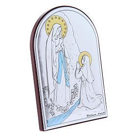 Quadro Madonna di Lourdes bilaminato retro legno pregiato 12X8 cm s2