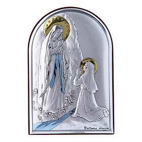 Our Lady of Lourdes painting in laminboard with refined wooden back 12X8 cm s1