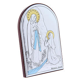 Our Lady of Lourdes painting in laminboard with refined wooden back 12X8 cm s2