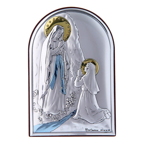Our Lady of Lourdes painting in laminboard with refined wooden back 12X8 cm 1