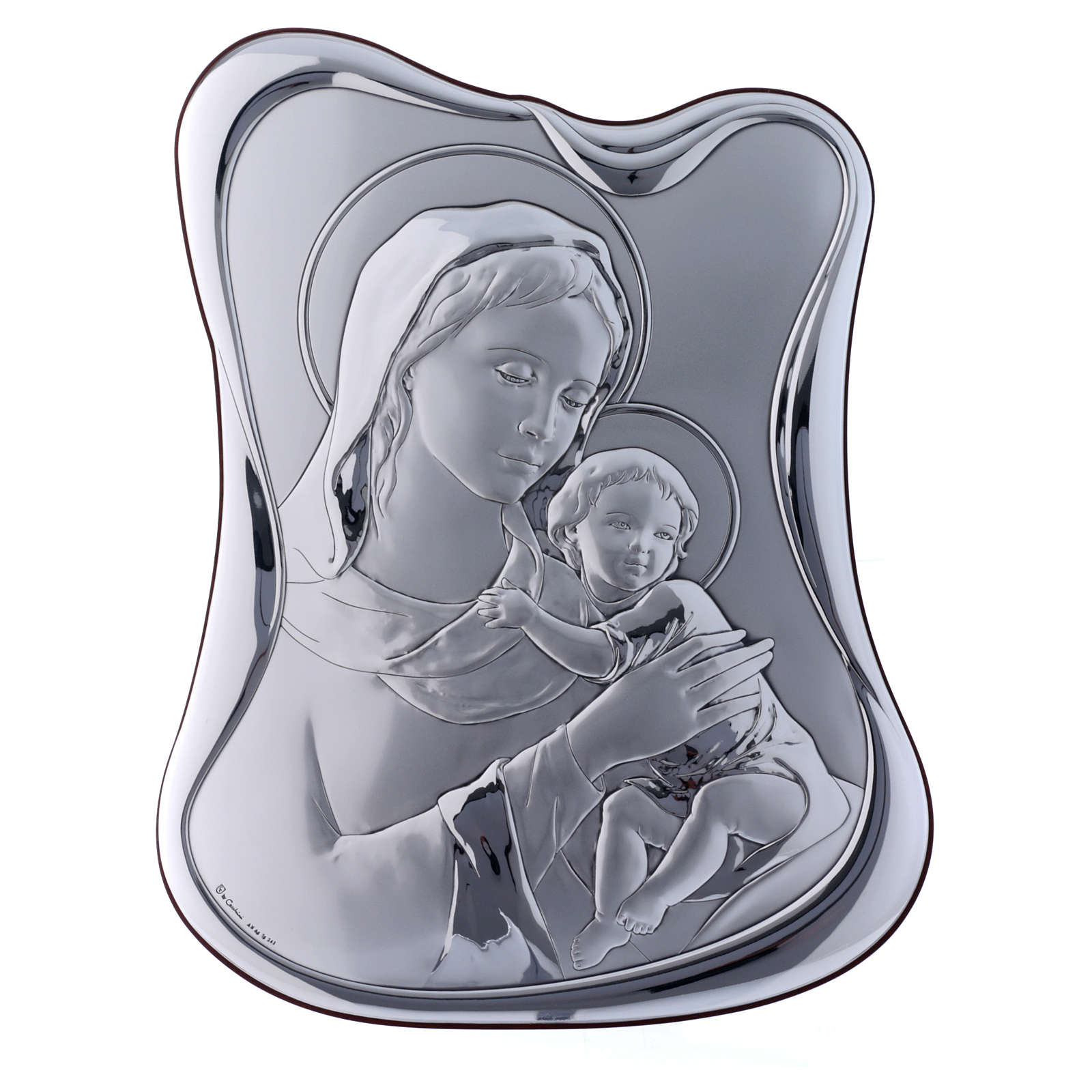 Our Lady with Baby Jesus painting in laminboard with refined wooden back 32,8X25 cm 4