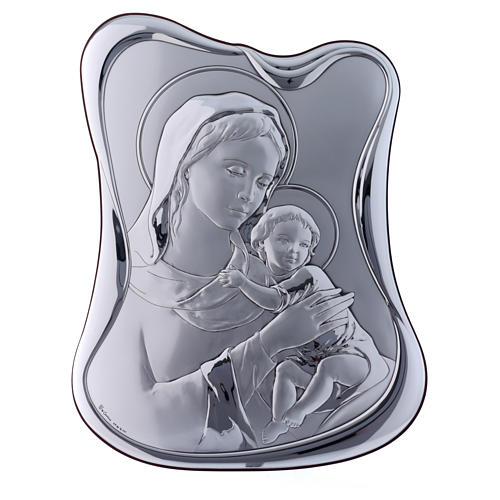 Our Lady with Baby Jesus painting in laminboard with refined wooden back 32,8X25 cm 1