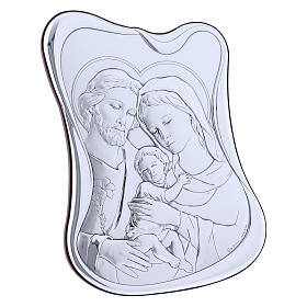 Holy Family painting in laminboard with refined wooden back 21,6X16,3 cm s2
