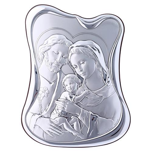 Quadro Sacra Famiglia bilaminato retro legno pregiato 21,6X16,3 cm 1