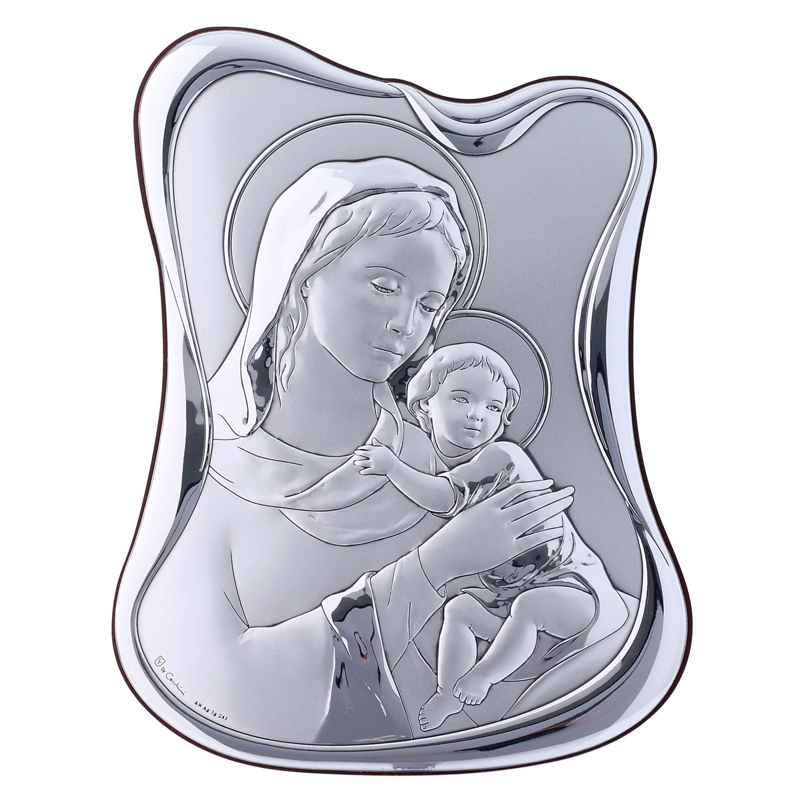 Our Lady with Baby Jesus painting in laminboard with refined wooden back 21,6X16,3 cm 4