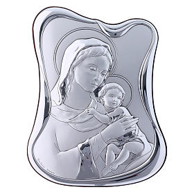 Our Lady with Baby Jesus painting in laminboard with refined wooden back 21,6X16,3 cm s1