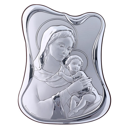 Our Lady with Baby Jesus painting in laminboard with refined wooden back 21,6X16,3 cm 1