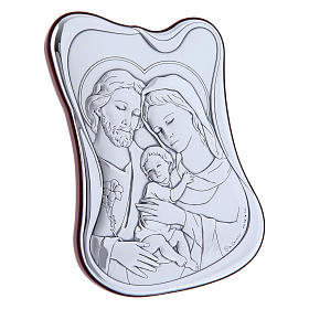 Holy Family painting in laminboard with refined wooden back 14X10 cm s2