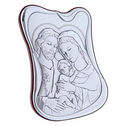 Quadro bilaminato retro legno pregiato Sacra Famiglia 14X10 cm 2