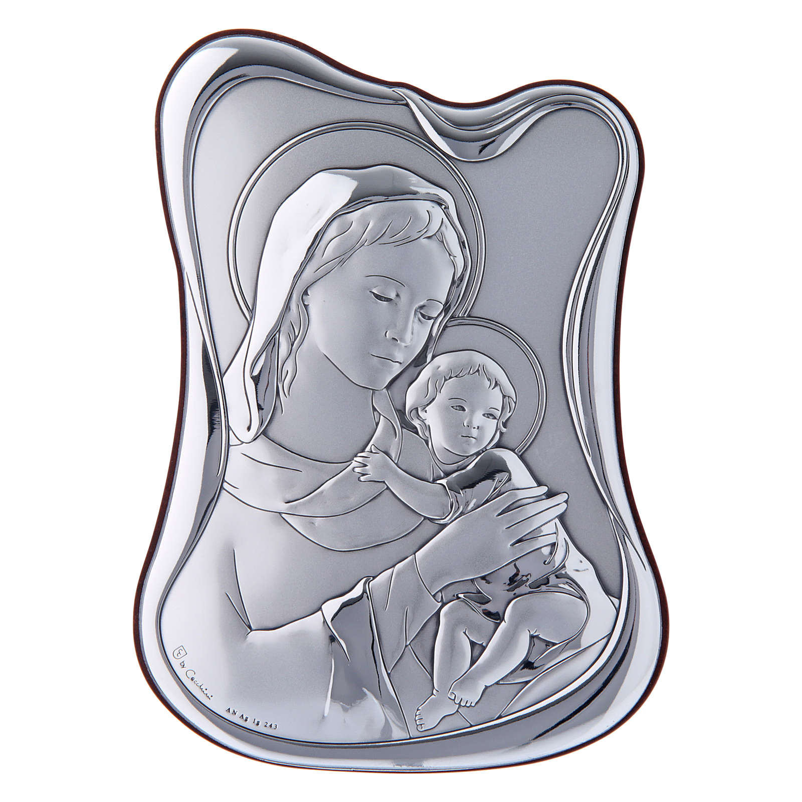 Quadro Madonna Bambino bilaminato retro legno pregiato 14X10 cm 4