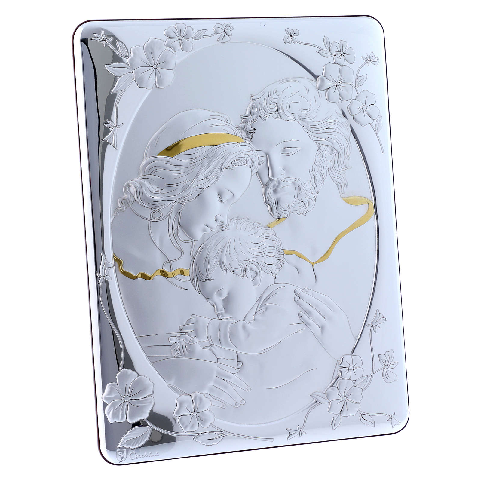 Cuadro bilaminado parte posterior madera preciosa Sagrada Familia detalles oro 33x25 cm 4