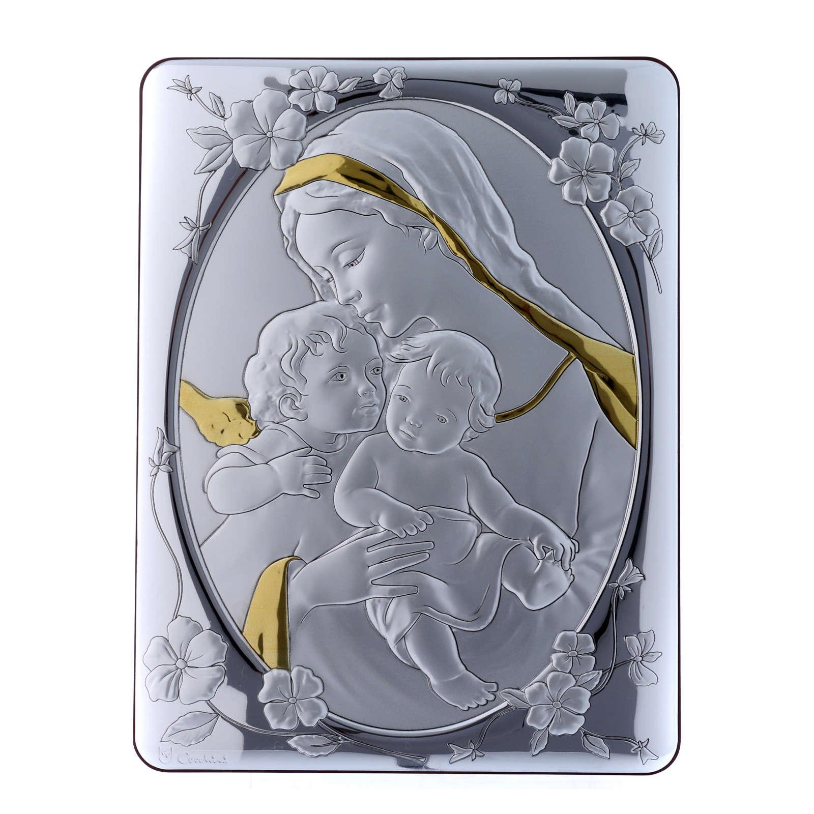 Quadro bilaminato retro legno pregiato rifiniture oro Madonna Angelo e Gesù 33X25 cm 4
