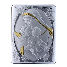 Quadro bilaminato retro legno pregiato rifiniture oro Madonna Angelo e Gesù 33X25 cm s1
