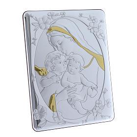 Quadro bilaminato retro legno pregiato rifiniture oro Madonna Angelo e Gesù 33X25 cm s2