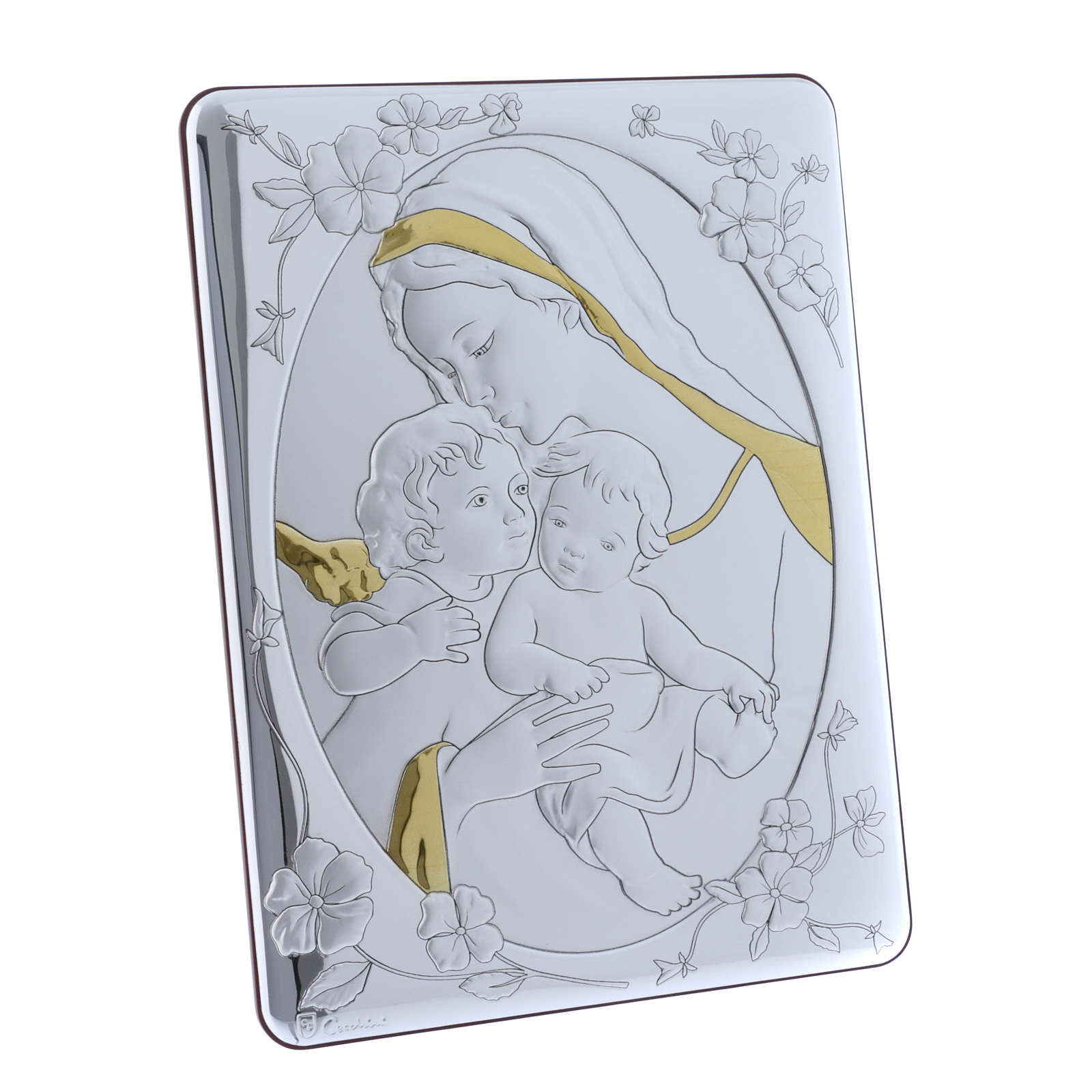 Our Lady with Baby Jesus and Angel painting finished in gold, made of laminboard with refined wooden back 33X25 cm 4