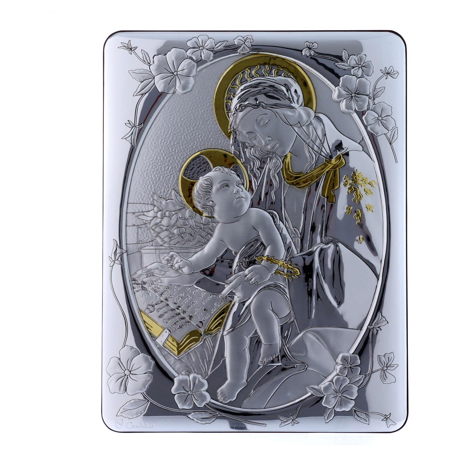 Quadro Madonna Botticelli bilaminato retro legno pregiato 33X25 cm 4