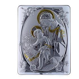 Quadro Madonna Botticelli bilaminato retro legno pregiato 33X25 cm s1