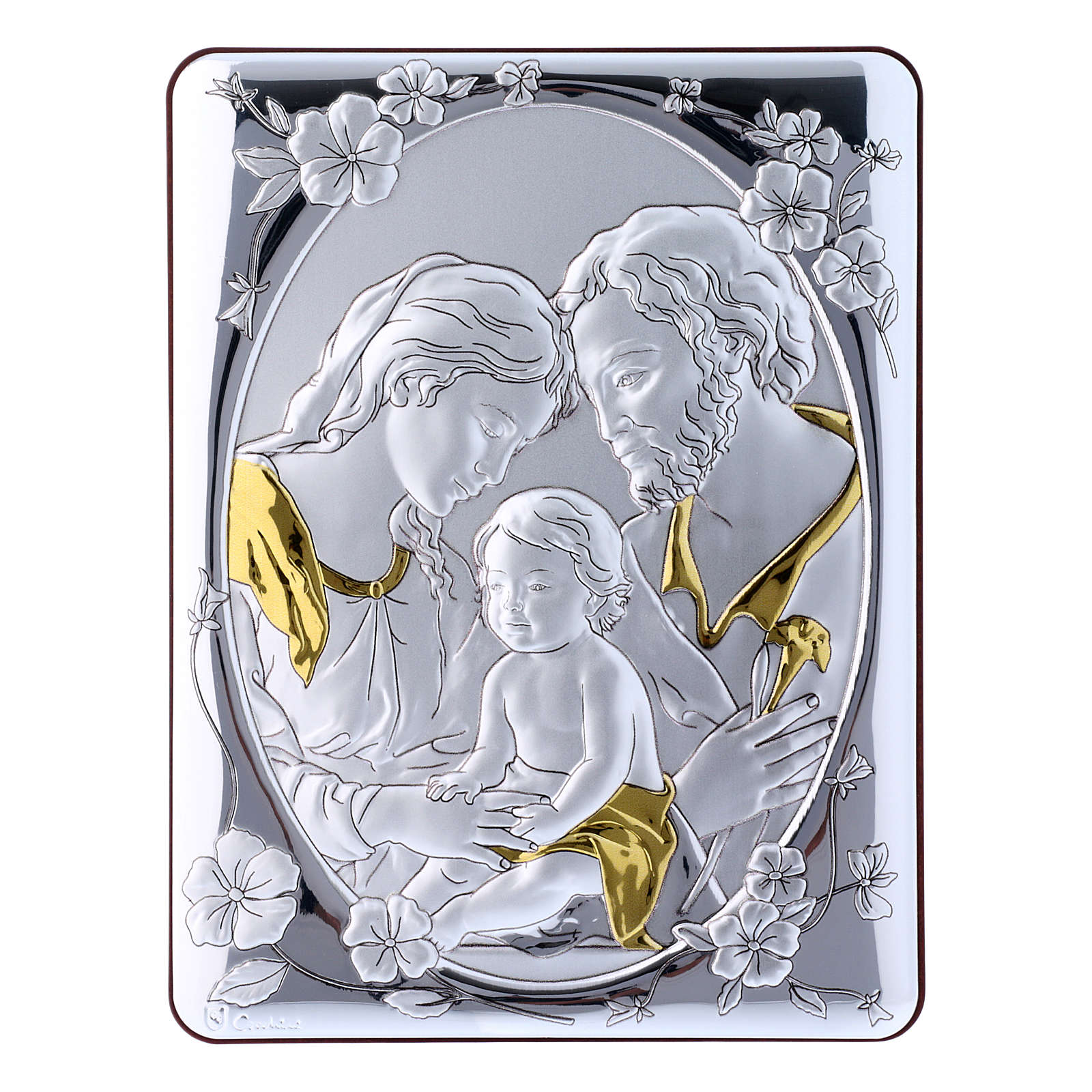 Holy Family painting finished in gold, made of laminboard with refined wooden back 21,6X16,3 cm 4