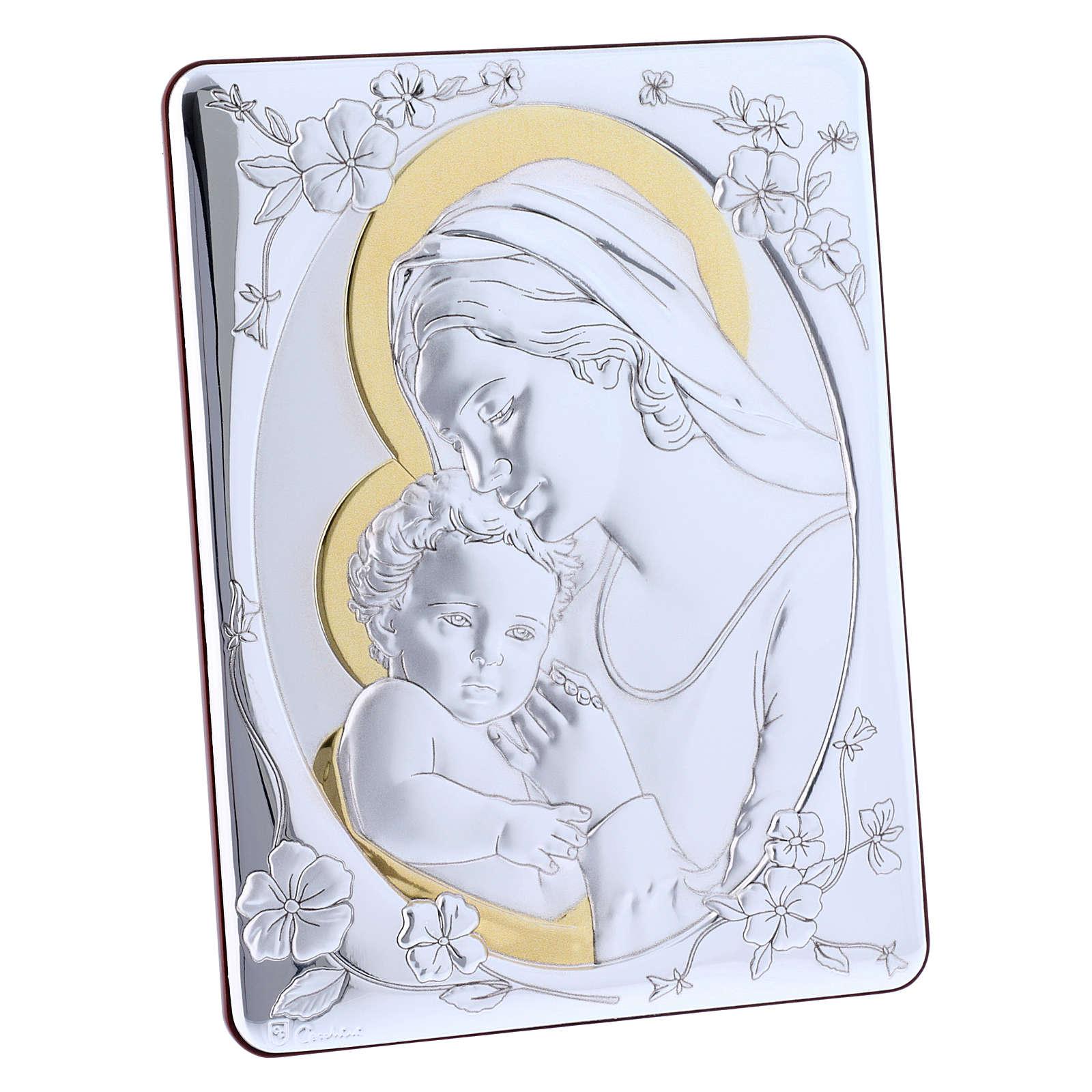 Quadro Madonna Gesù bilaminato retro legno pregiato rifiniture oro 21,6X16,3 cm 4