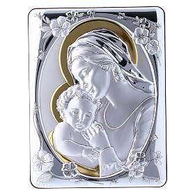 Quadro Madonna Gesù bilaminato retro legno pregiato rifiniture oro 21,6X16,3 cm s1