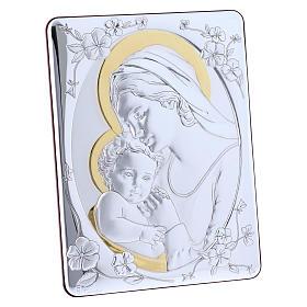 Quadro Madonna Gesù bilaminato retro legno pregiato rifiniture oro 21,6X16,3 cm s2
