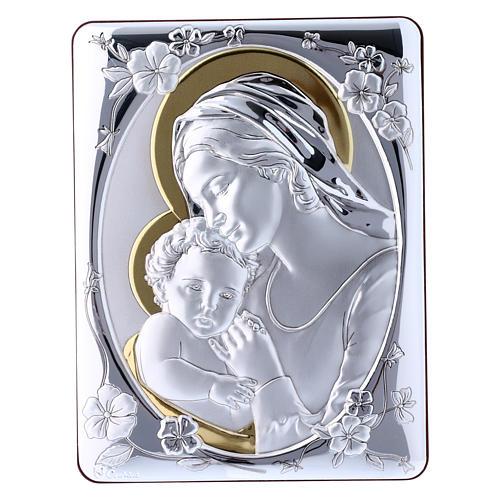 Quadro Madonna Gesù bilaminato retro legno pregiato rifiniture oro 21,6X16,3 cm 1