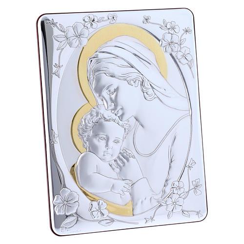 Quadro Madonna Gesù bilaminato retro legno pregiato rifiniture oro 21,6X16,3 cm 2