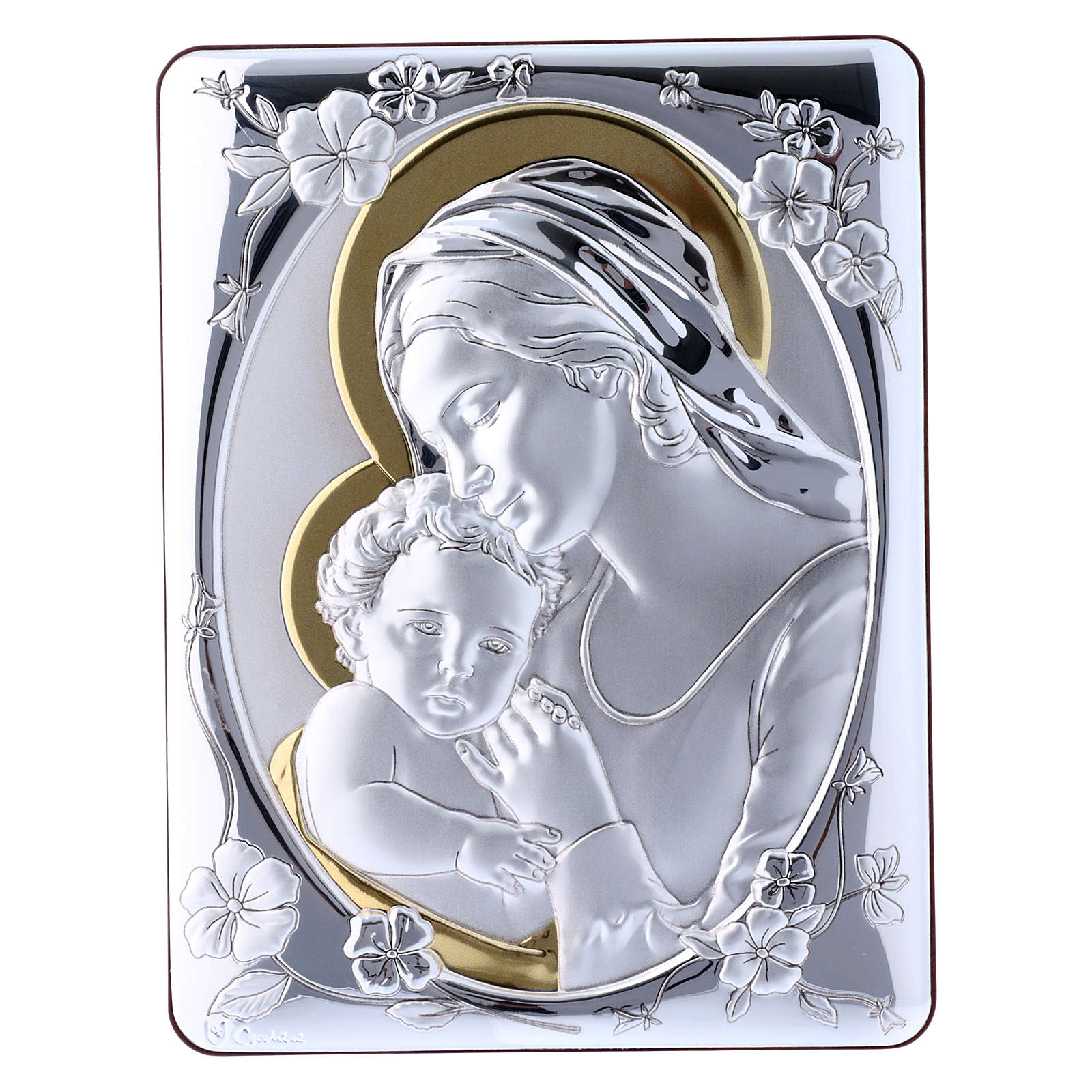Our Lady with Baby Jesus painting finished in gold, made of laminboard with refined wooden back 21,6X16,3 cm 4