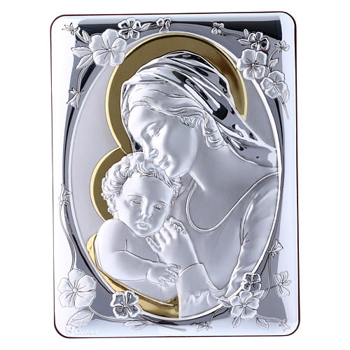 Our Lady with Baby Jesus painting finished in gold, made of laminboard with refined wooden back 21,6X16,3 cm 1