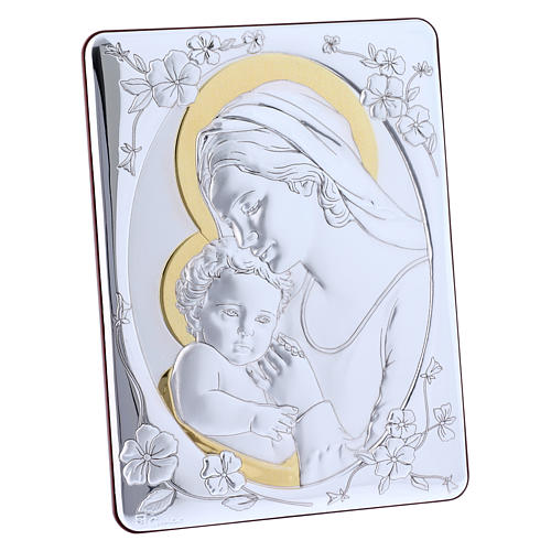 Our Lady with Baby Jesus painting finished in gold, made of laminboard with refined wooden back 21,6X16,3 cm 2