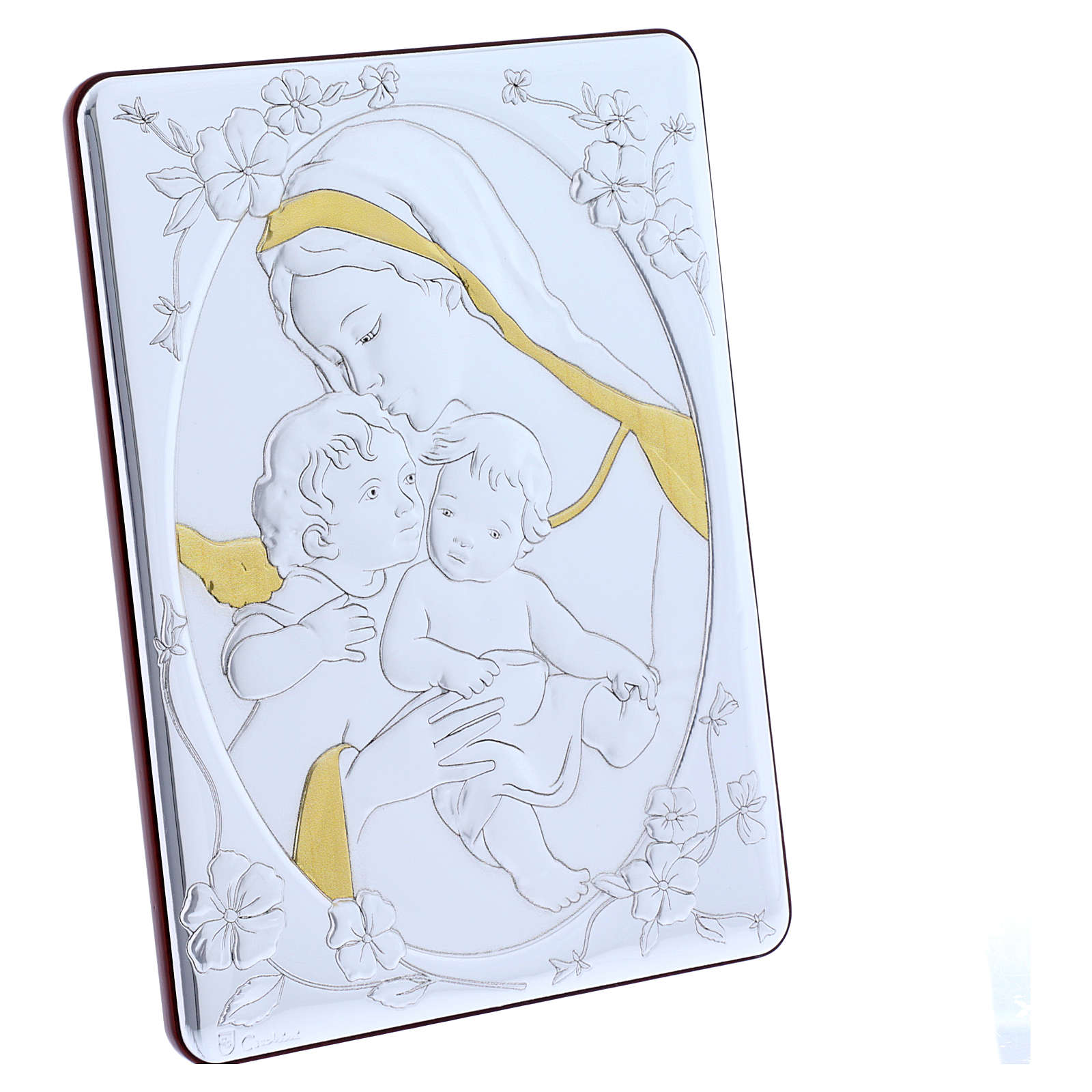 Our Lady with Baby Jesus and Angel painting finished in gold, made of laminboard with refined wooden back 21,6X16,3 cm 4
