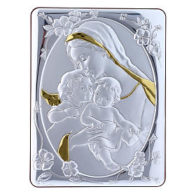 Our Lady with Baby Jesus and Angel painting finished in gold, made of laminboard with refined wooden back 21,6X16,3 cm s1